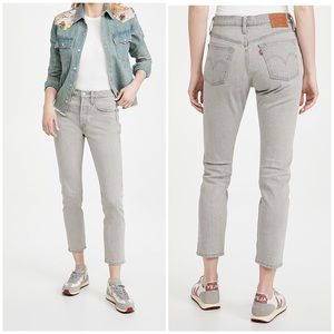 Levi's 501 high rise skinny jeans washed grey NWT